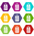 backpack schoolboy icons set 9 vector image vector image