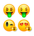 bitcoin smiley emoji emoticon smiling face vector image
