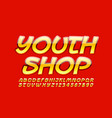 bright logo youth shop with glossy font vector image