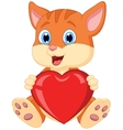 Cartoon cat holding red heart vector image vector image