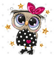 cartoon owl on a dots background vector image vector image