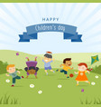children kids boy girl rainbow happy nature family vector image vector image