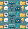 colorful background with pattern of tech icons vector image vector image