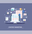 content marketing blogging and smm concept in vector image