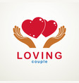 couple in love simple logo or icon created with vector image