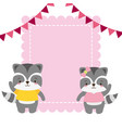 cute couple raccoon animals greeting card vector image vector image