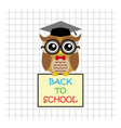 Cute owl teacher on squared background with sign vector image vector image