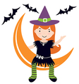 Cute witch sitting on moon vector image vector image