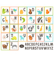 Cute zoo alphabet with cartoon animals vector image