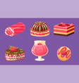 delicious sweets and desserts set cake cupcake vector image