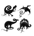 dinosaurs black silhouette isolated on white vector image