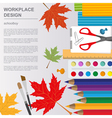 Education graphic template Schoolboy workplace vector image vector image