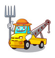 farmer cartoon tow truck isolated on rope vector image