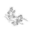 father playing with his son outlined cartoon vector image