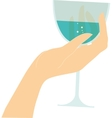 female hand holding glass with red wine vector image