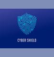 fingerprint scan logo privacy shield icon cyber vector image