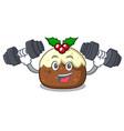 fitness fruit cake character cartoon vector image