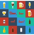 Flat set of beer glass and bottles icons vector image