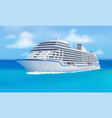 great cruise liner ocean blue sky in flat style vector image