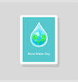 greeting card with earth inside water drop vector image vector image
