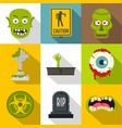 halloween zombie icon set flat style vector image vector image