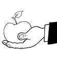 Hand holding apple cartoon vector image