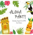 hawaiian luau party invitation template banner vector image vector image
