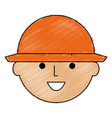head worker with helmet vector image