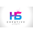 hs h s letter logo with shattered broken blue vector image vector image