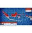 Indonesia map on a brick wall vector image