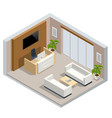 isometric interior modern office hall with vector image