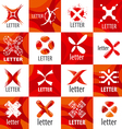 Large set of logo letter X vector image