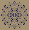 mandala blue with plant motives on a brown vector image