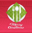 merry christmas table setting with plate spoon vector image