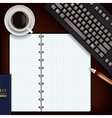 office desk with coffee keyboard and notepad vector image