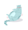 postcard with a cute hand drawn blue cat vector image