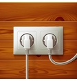 Realistic electric double white socket and two vector image