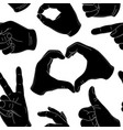 seamless pattern vintage human hand gestures vector image