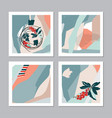 set abstract christmas cards vector image