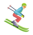Skier Isolated on White Person Skiing vector image vector image