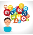 Social media design with multimedia icons vector image