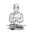 sushi chef sketch vector image vector image