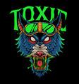 toxic wolf head vector image vector image