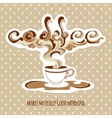 vintage cup coffee with ornate steam and title vector image