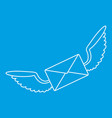 winged mail envelope icon outline style vector image vector image