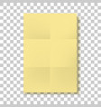 yellow folded paper page blank mockup vector image vector image