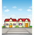 a boy with dog and houses vector image