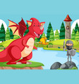 a knight battle with dragon vector image vector image