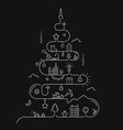 Abstract Christmas tree in line style vector image