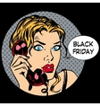 Black Friday woman phone communication vector image vector image